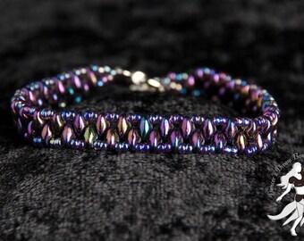 Vibrant Purple Luminance Superduo Ladder Bracelet [Children's Size]