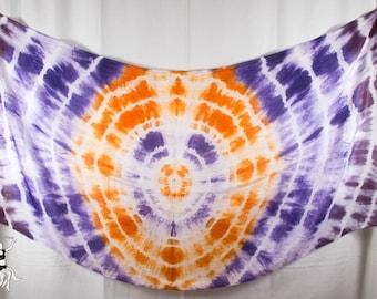 Silk Belly Dance Veil Vibrant Black Purple Orange Medallion OOAK 84x35 DDB1516