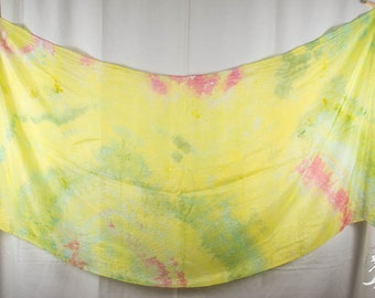 Silk Belly Dance Veil Light Blue Bright Green and Yellow OOAK 84x35 DDB1519