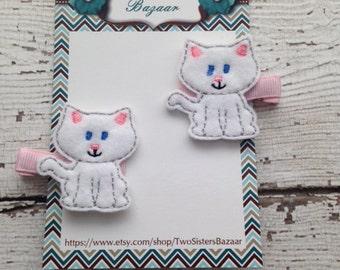 Kitty HairClip, Felt Clippie, Cat Felt clip set