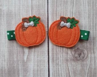 Pumpkin Hair Clips, Girls Hair Clips, Thanksgiving Hair Clips, Pumpkin Hair, Holiday Hair Clip