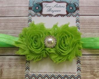 Green Headband, Girls Headband, Infant Headband, Shabby Headband, Toddler Headband
