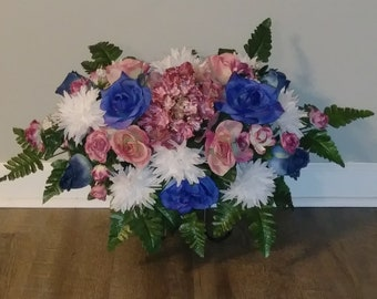 Cemetery Flowers, Tombstone Saddle, Cemetery Headstone Flowers, Grave Flowers, Mauve Hydrangea and Blue Rose, Memorial Day Flowers FF400