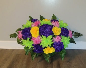 Cemetery Flowers, Tombstone Saddle, Cemetery Headstone Flowers, Grave Flowers, Multi Color Mum and Rose, Memorial Day Flowers FF744
