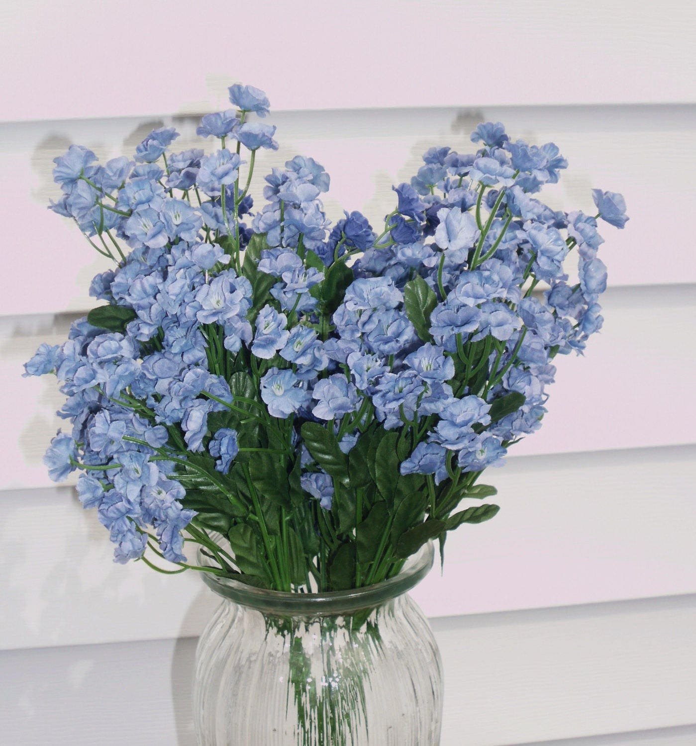 Blue Silk Double Babys Breath Filler Flower 8 Stems Wedding Etsy