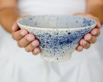 Ceramic bowl, japanese pottery, handmade pottery, blue bowl, cereal bowl, soup bowl, white and blue pottery, modern pottery, made for order.