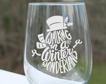 etched wine glass, snowman, stemless wine glasses, etched wine glasses, wine glass, snowman wine glass, Wine Glass, Winter,  wine glass
