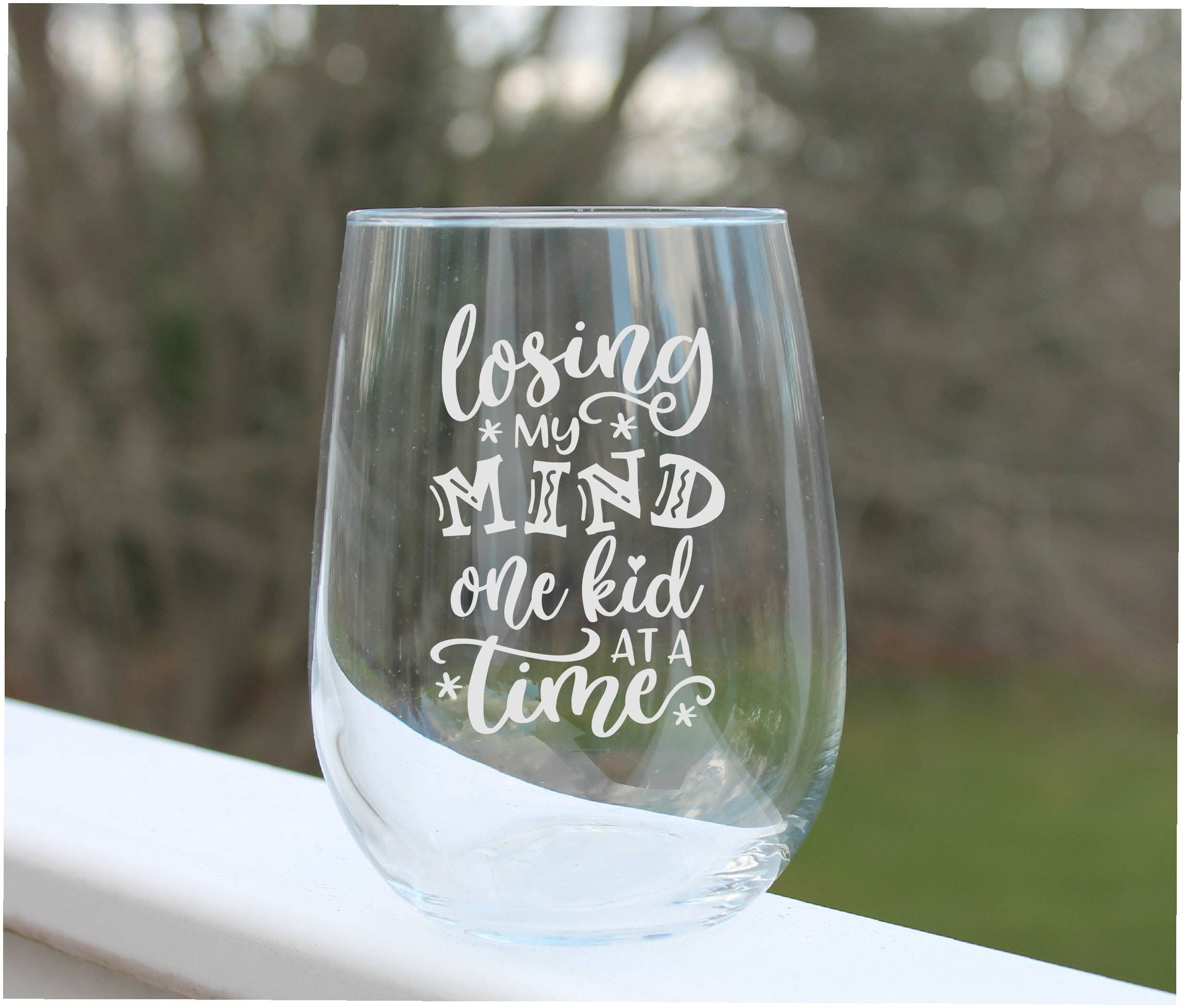 Mom Wine Glasses Etched Wine Glasses Stemless Wine Glasses Etsy