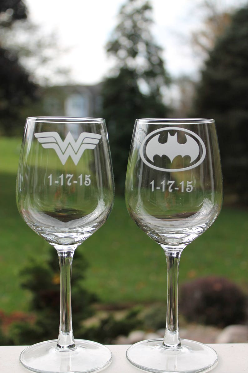 5a15aa5874b Etched wine glasses Superhero wine glasses Etched wine | Etsy