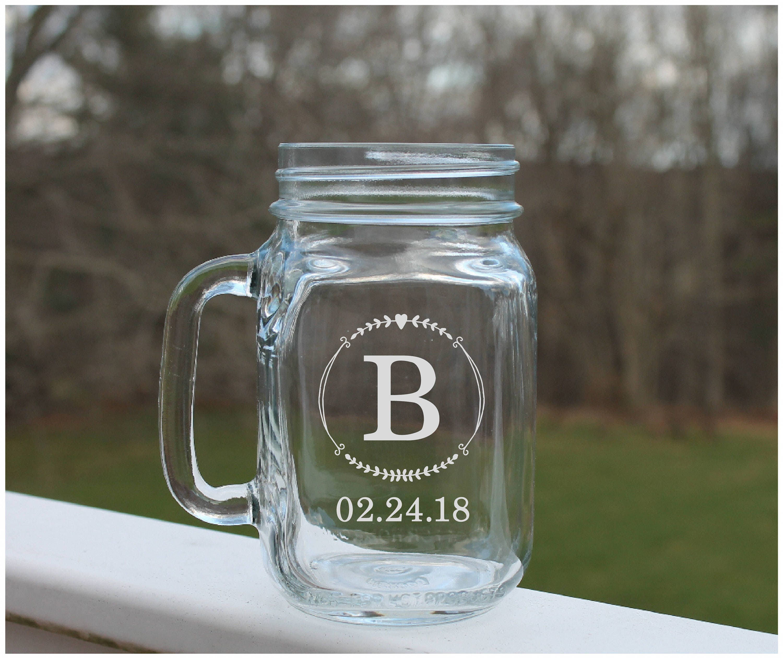 personalized monogram mason jar engraved wedding jar etched mason jar