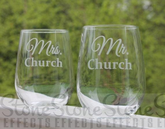 custom stemless wine glasses, mr and mrs , wedding wine glasses, set of 2