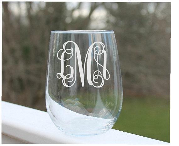 Letter M Bottom Etched Monogram 17oz Stemless Wine Glass