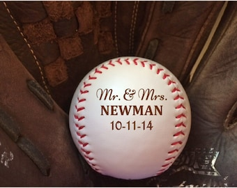 Baseball,Personalized Baseball, baseball gifts, laser engraved baseball, wedding, mr. and  mrs., wedding favor, birthday, personalized