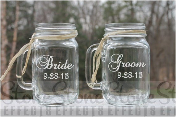 Mason Jars Mugs Personalized Mason Jar Mugs Wedding Mason Etsy