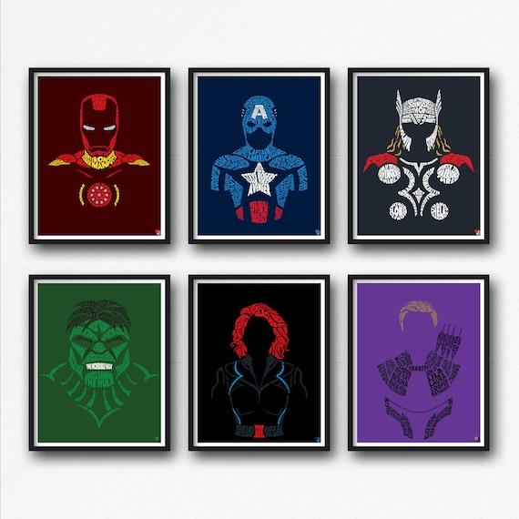Face Superhero Thor Prints Decor Hero Iron Man Marvel Comics Captain America Typographical Portraits Silhouette Pop Art