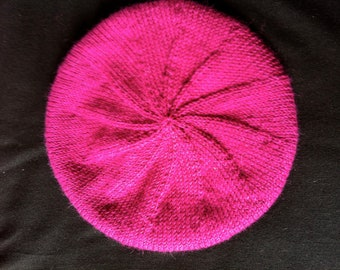 Slouchy Fuchsia Alpaca Beret with Turquoise Border