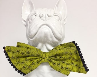 Green Spider Halloween Dog Girly Bow - Collar Accessory - Gift
