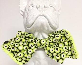 Halloween Spooky Eyes Web Dog Bow Tie Custom Sizes - Collar Accessory - Gift