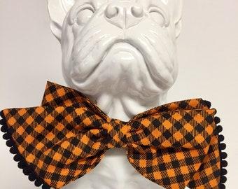 Orange Black Dog Girly Bow - Collar Accessory - Gift- Holiday -