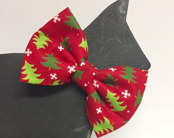 Christmas Tree - Dog Bow Tie Collar Accessory - Winter - Fall - Christmas - Holiday - Red - Traditional - Presents