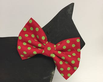 Christmas Dog Bow Tie Collar Accessory - Winter - Fall - Christmas - Holiday - Traditional - Polka Dot Red Green