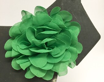 Green Chiffon flower - Christmas - Holiday - Summer - Spring Flower - Dog Collar Accessory - Gift - Pet Gift - Pretty - Fancy