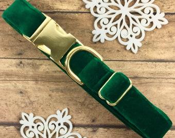 "Velvet- Luxury, Dog Collar - 1"", 3/4"" - Winter - Dog Gift - Pet Gift - Holiday - Green -Gift - Luxurious"
