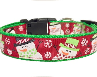 Christmas, Winter, Snowman Dog Collar, Holiday, Dog Gift, Custom, Cute, Pet Collar, Gift for Dog Lover, Gift for Pet, Handmade,
