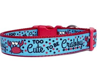 Crab, Nautical, Beach, Dog Collar, Too Cute, Sun, Summer, Spring, Sailor, Sailboat, Dog Gift, Pet Gift, Handmade, dog boutique,