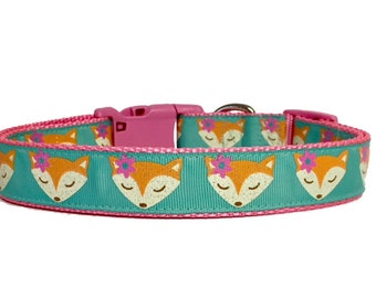 Fall Fox Dog Collar, Harvest, Thanksgiving, pet gift, handmade, Polka Dot Tails, Dog Gift, Holiday, Foxes, Woodland Creatures, Cute, Girl