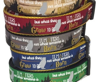 Harry Potter Dog Collar, Hogwarts , Wizard, Wizardry, I Solemnly Swear, It Matters Not what someone is Born, Handmade, Luna, Hogwarts, Gift