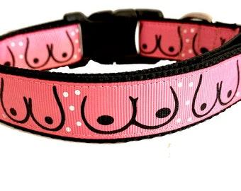 Boob Dog Collar, Breast Dog Collar, Breast Cancer Dog Collar, Funny Dog Collar, Adult Content