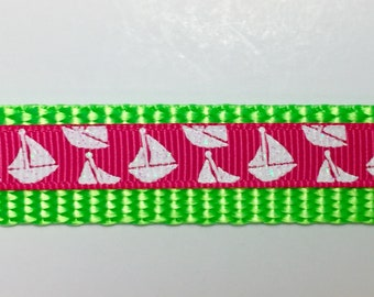 Nautical Boats Pink and White Dog Collar - Small Dog - Teacup - Anchors - Handmade - Dog Gift - Dogs -