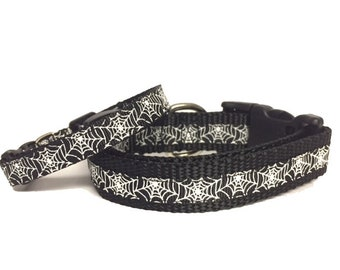 Halloween Spider Webs, Cat Collar, Dog Collar, Glow in the Dark Collar, Thanksgiving, pet gift, handmade, Toy Dogs, Small Dogs