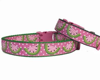 Summer Dog Collar Pink Glitter Watermellon Spring Summer Fun