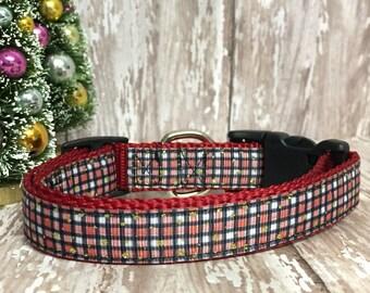 """3/4"""" Christmas Plaid Dog Collar - Holiday - Gift - Pet Gift - Dog Gift - Seasonal"""