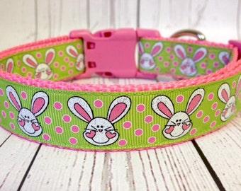 Cute Glitter Bunny Pink Green Dog Collar