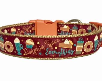 Pumpkin Spice Dog Collar, Dog Collar Fall, Pumpkin Dog Collar,