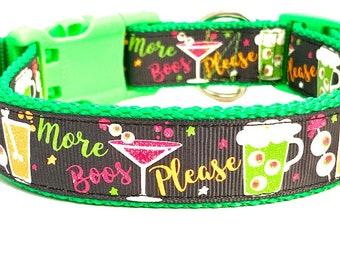 Boos Dog Collar, Halloween Dog Collar, More Boos Please, Funny Dog Collar, Alcohol Dog Collar