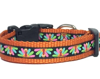 Fall Turkey Dog Collar, Cat Collar, Harvest, Thanksgiving, pet gift, handmade, Toy Dogs, Small Dogs, Polka Dot Tails, Gobble,