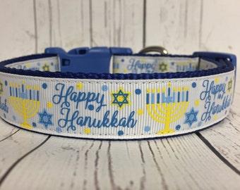 Happy Hanukkah Star of David Dog Collar
