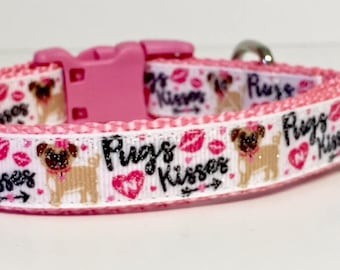 """3/4"""" Valentine's Day Dog Collar, Pugs & Kisses, Valentines Day, Gift, Pet Gift, Dog Gift, Seasonal, Kisses, Lips, Hearts, Cupid, Pug, Cute"""