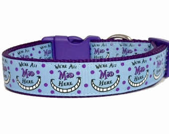 We're All Mad Here - Alice Inspired Dog Collar - Handmade - Dog Gift - Pet Collar - Mad Hatter - Cheshire Cat - Fun - Dog Leash