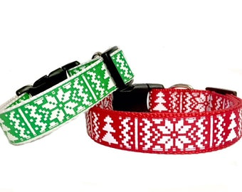 Christmas Classic Winter Dog Collar - Gift - Argyle -