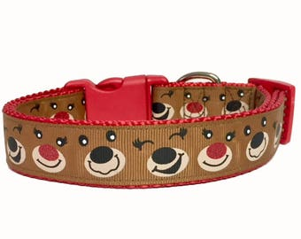 Reindeer, Rudolph, Christmas, Classic Winter Dog Collar, Christmas Present, Dog Gift, Handmade, Santa, Cute, Holiday, Pet gift, Pet Boutique