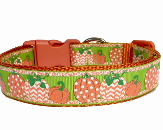 Featured listing image: Pumpkin Dog Collar - Fall - Green - Orange - Chevron - Dog Collar Halloween Fall - Thanksgiving - Handmade - Pet Gift - Boutique - Dog Gift