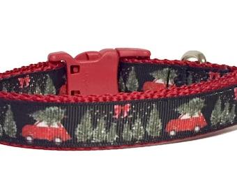 Christmas Dog Collar - Truck - Winter - Holiday - Dog Collar - Tree - Merry Christmas - Red Truck - Vintage - Retro - Farm