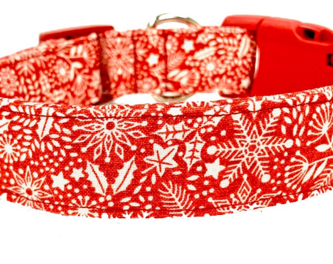 Featured listing image: Red Snowflake Dog Collar, Christmas Dog Collar, Dog Gift, Hygge, Tomte