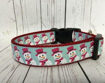 Snowman teal Christmas Winter Dog Collar