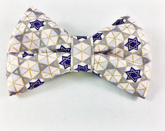Hanukkah Dog Collar Bow Tie - Star of David - Jewish - Dog Gift -Unique Gifts - Custom - Collar Accessory - Christmas - Holiday - Festive -